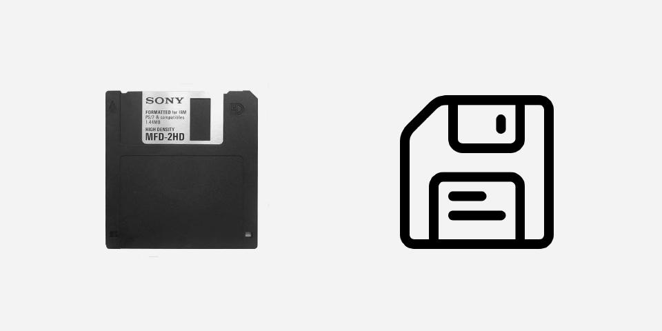 Floppydisc und Disketten-Icon